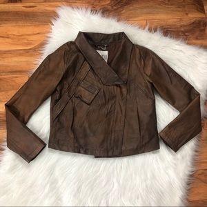 BB Dakota Washed Leather Asymmetrical Moto Jacket